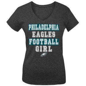 Philadelphia Eagles Girls Youth Football Girl Tri-Blend V-Neck T-Shirt