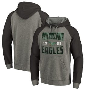 Philadelphia Eagles Timeless Collection Antique Stack Tri-Blend Raglan Pullover Hoodie