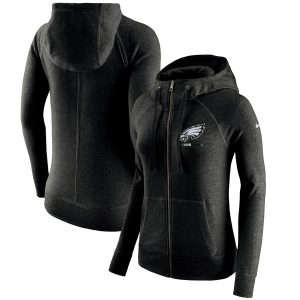 Philadelphia Eagles Nike Women's Gym Vintage Full-Zip Hoodie
